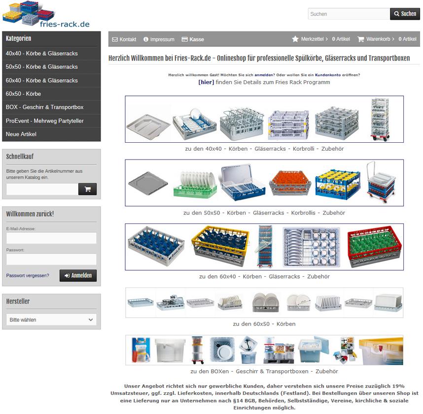 fries-rack.de Webshop für Kunststoff Gläserkörbe und Spülkörbe von fries in den Korbgrößen 40x40cm, 50x50cm, 60x50cm und 60x40cm